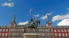 Time lapse of Plaza Mayor in Madrid, Spain Stock Footage