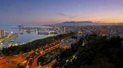 Time lapse of evening Malaga, Spain Stock Footage