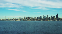 Long shot of Seattle skyline from across Elliott Bay. Stock Footage