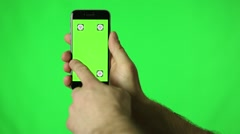 Smartphone touchscreen tap, swipe and spread hand gestures on green screen Stock Footage