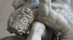Slow zoom out - marble Hercules and Nesus, Loggia, Florence Stock Footage