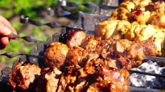 Chicken and veal kebabs barbecues are fried on skewer grill Stock Footage