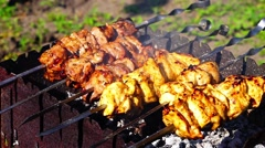 Chicken and veal kebabs barbecues are fried on skewer grill - stock footage