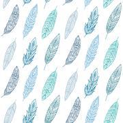 Ethnic Feathers Seamless Pattern Stock Illustration
