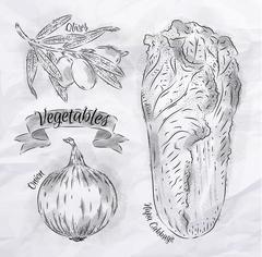 Vegetables onion, napa cabbage, olives vintage Stock Illustration