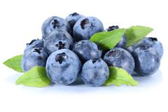 Blueberry blueberries fresh berry berries fruit isolated on white - stock photo