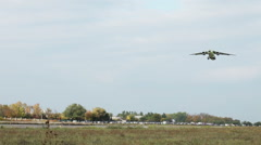 The new aircraft takes off at the proving ground of aircraft factory. Stock Footage