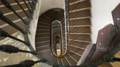 Stairs art nouveau style in an old building Milano Stock Footage