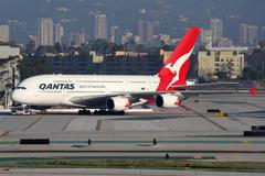 Qantas Airbus A380-800 airplane - stock photo