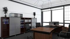 3D Interior rendering of an office Stock Illustration