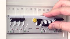 Closeup Of Person's Hand Repair Turn On The Switchboard Stock Footage