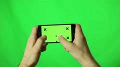 man hands using a smart phone for write text messaging with chroma key, green - stock footage
