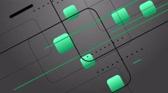 4k Green Mint Digital Design on Gray Background Animation Seamless Loop. - stock footage
