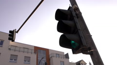 Intersection light in downtown Offenbach Germany 4k Stock Footage