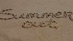 Summer word on sand seacoast Stock Footage