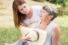 Dangers of staying in the sun too long - stock photo