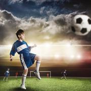 Young football champion - stock photo