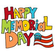happy memorial day in message - stock illustration
