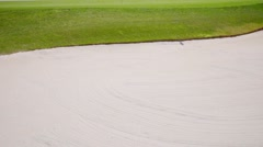 Sand bunker on a golf course Stock Footage