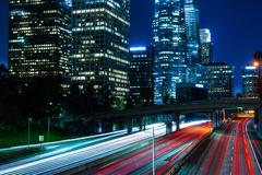 Los Angeles downtown freeway at night - stock photo
