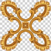 Gold pattern in X to the form on four rays. There are yellow, brown colors. - stock illustration