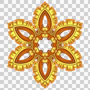 Gold pattern, star with six rays. There are yellow, brown colors. - stock illustration