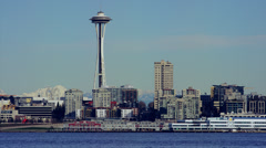 Seattle Space Needle and Skyline Stock Footage