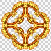 Gold ornament of almost round form. The type of a cross is poorly expressed. - stock illustration
