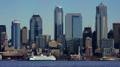 Heart of downtown Seattle waterfront with ferry. Stock Footage