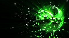 Spinning acid-green glow disco ball composed of cubes-crystals - stock footage