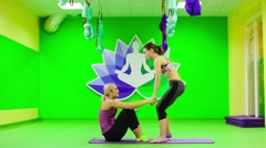 Paired exercises yoga pilates in gym Stock Footage