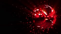 Spinning dark-red glow disco ball composed of cubes-crystals - stock footage