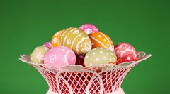 Rotating Easter eggs in basket Stock Footage