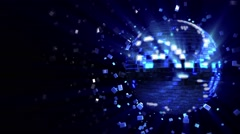 Spinning dark-blue glow disco ball composed of cubes-crystals Stock Footage