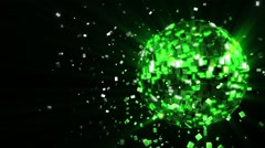 pulsating and spinning acid-green glow disco ball composed of cubes-crystals - stock footage