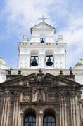 Front entrance to beautiful church of Guapulo located in Quito Ecuador, spanish Stock Photos