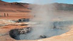 Namafjall hot spring fumarole volcanic field Stock Footage