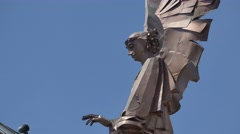 Modern Copper Angel Statue Stock Footage