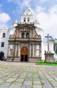Front entrance to beautiful church of Guapulo located in Quito Ecuador, spanish - stock photo