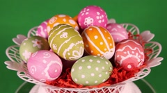 Easter eggs on green background Stock Footage