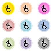 Set of colorful buttons with handicap, disable sign Stock Illustration