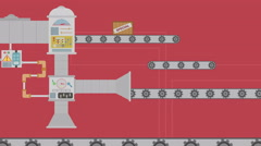 Colorful Cartoon Factory Background seamless loop, Vector parcels on conveyors. Stock Footage