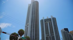 Buildings in Collins Ave. Sunny Isles in Miami, Florida.  Steadicam used Stock Footage