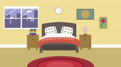 Cartoon Modern colorful Bedroom Animation with space for your text or logo, Stock Footage