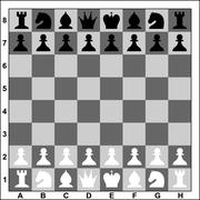 Chess board with black and white figures. Vector illustration. - stock illustration