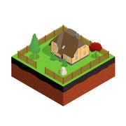 Cross section of ground with house. 3d isometric. Vector illustration. - stock illustration