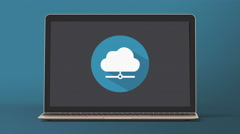 4k - Laptop with cloud icon symbol Stock Footage