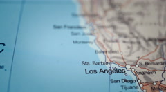 West Coast Close Up USA Map Dolly Stock Footage
