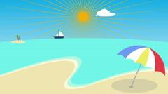 Colorful Cartoon Beach Background, Palm Beach Animation. Tropical Island. - stock footage