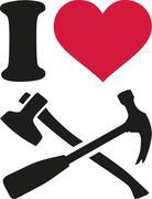 I love carpenter tools Stock Illustration